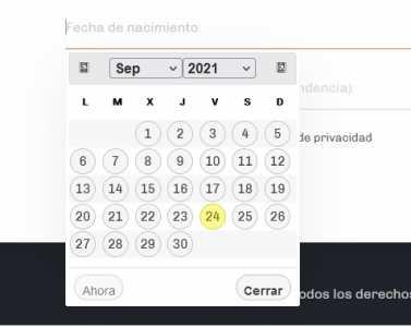 calendario formulario contacto