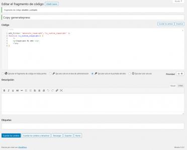 Screenshot 2020 07 21 Editar el fragmento de código Mi nuevo sitio WordPress — WordPress