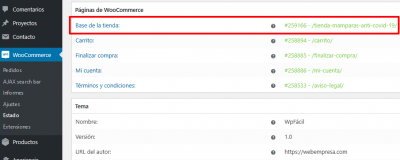 Estado de WooCommerce Mamparas anti Covid 19 de vidrio templado — WordPress