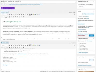 Editar producto Test Mamparas anti Covid 19 Vidrio Templado — WordPress