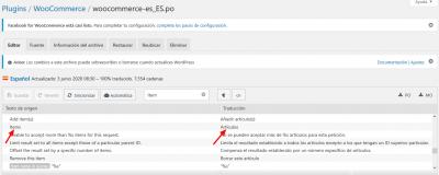 Editando woocommerce es ES.po de WooCommerce ‹ Traducción de plugins ‹ Loco Mamparas anticontagio de Vidrio Templado CLON — WordPress