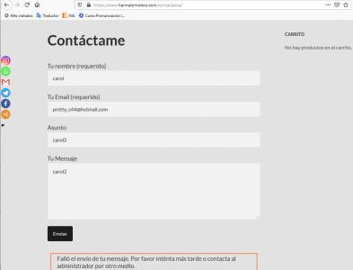 error página contacto con recapcha activado
