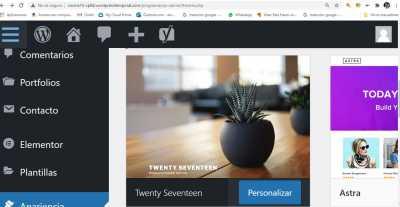 Captiura pantallazo escritorio wordpress