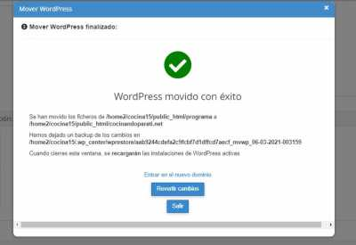Mensaje tras mover Wordpress Captura