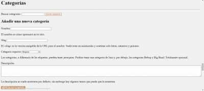 Screenshot of Categorías   centredux.com — WordPress