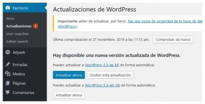 ocultar aviso actualizacion wordpress 1