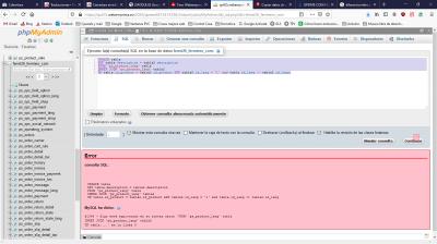 Sentencia SQL en Cpanel con el error