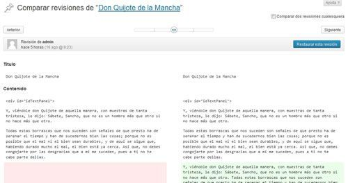 Revisiones y autoguardado en WordPress