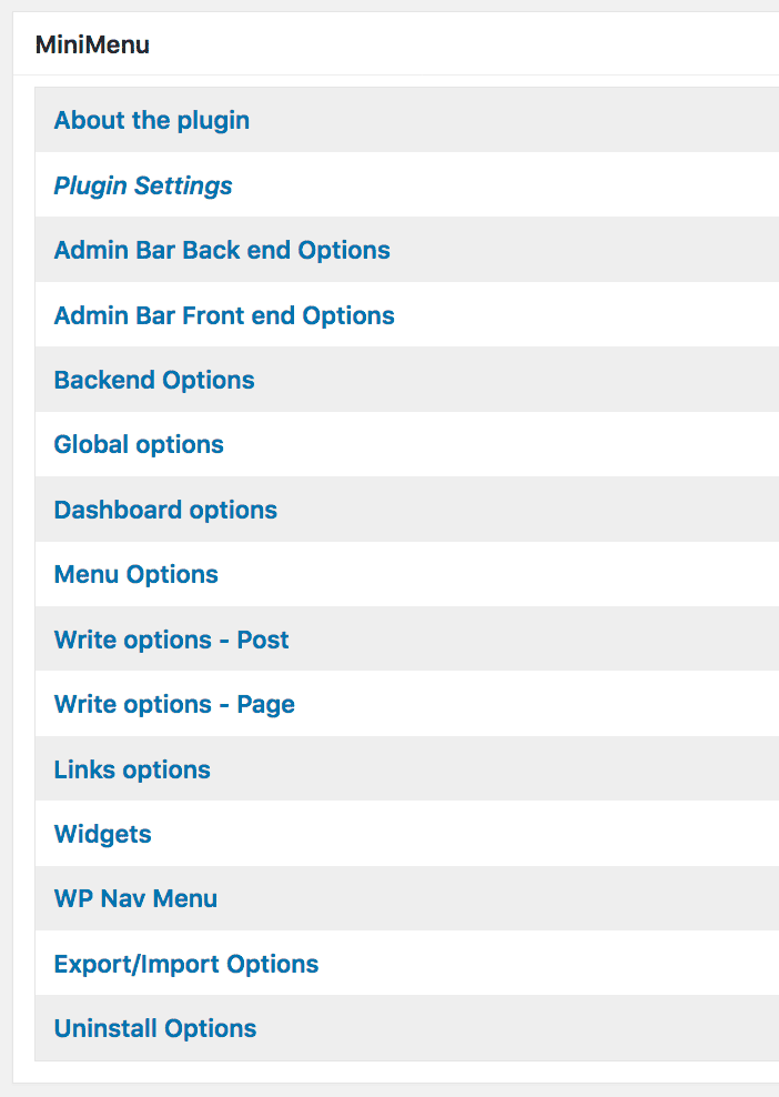 Menú plugin Adminimize para WordPress