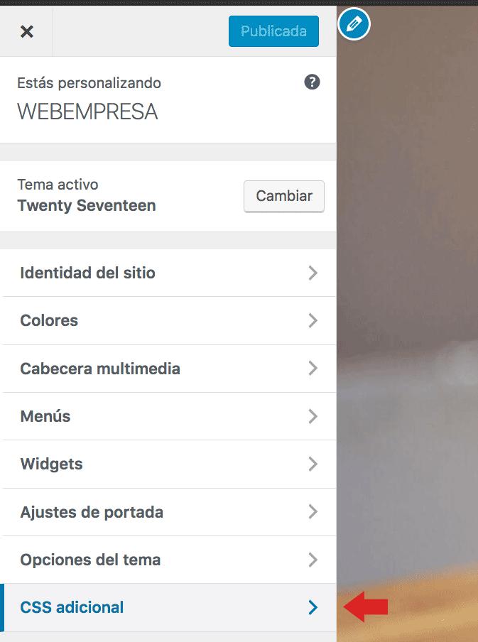 Pantalla personalizador CSS tema