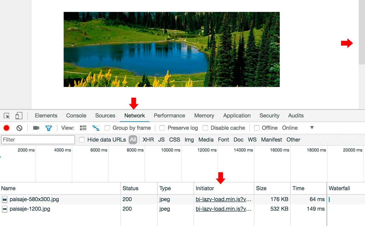 Inspector de código para verificar carga de imágenes