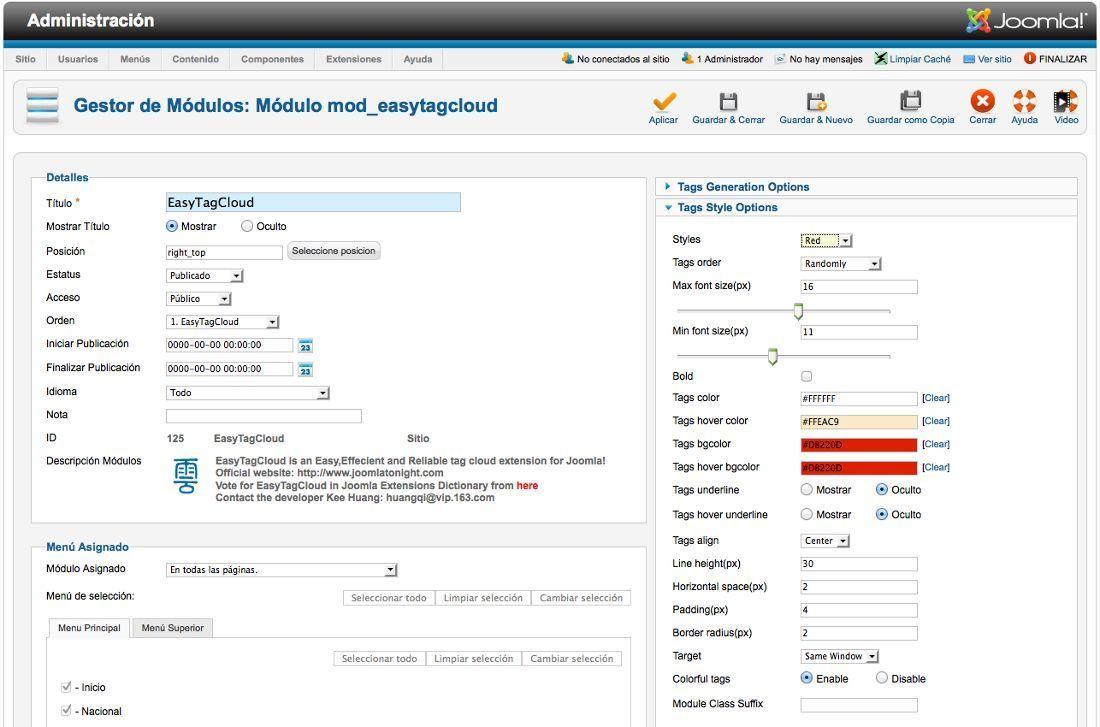 Nube de etiquetas en Joomla 2.5 con EasyTagCloud