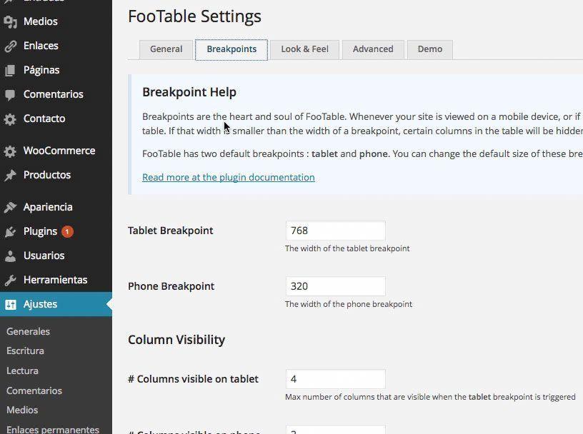 Tablas fluidas o responsive en artículos WordPress con FooTable