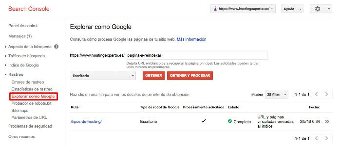Cómo re-indexar páginas mediante Google Search Console