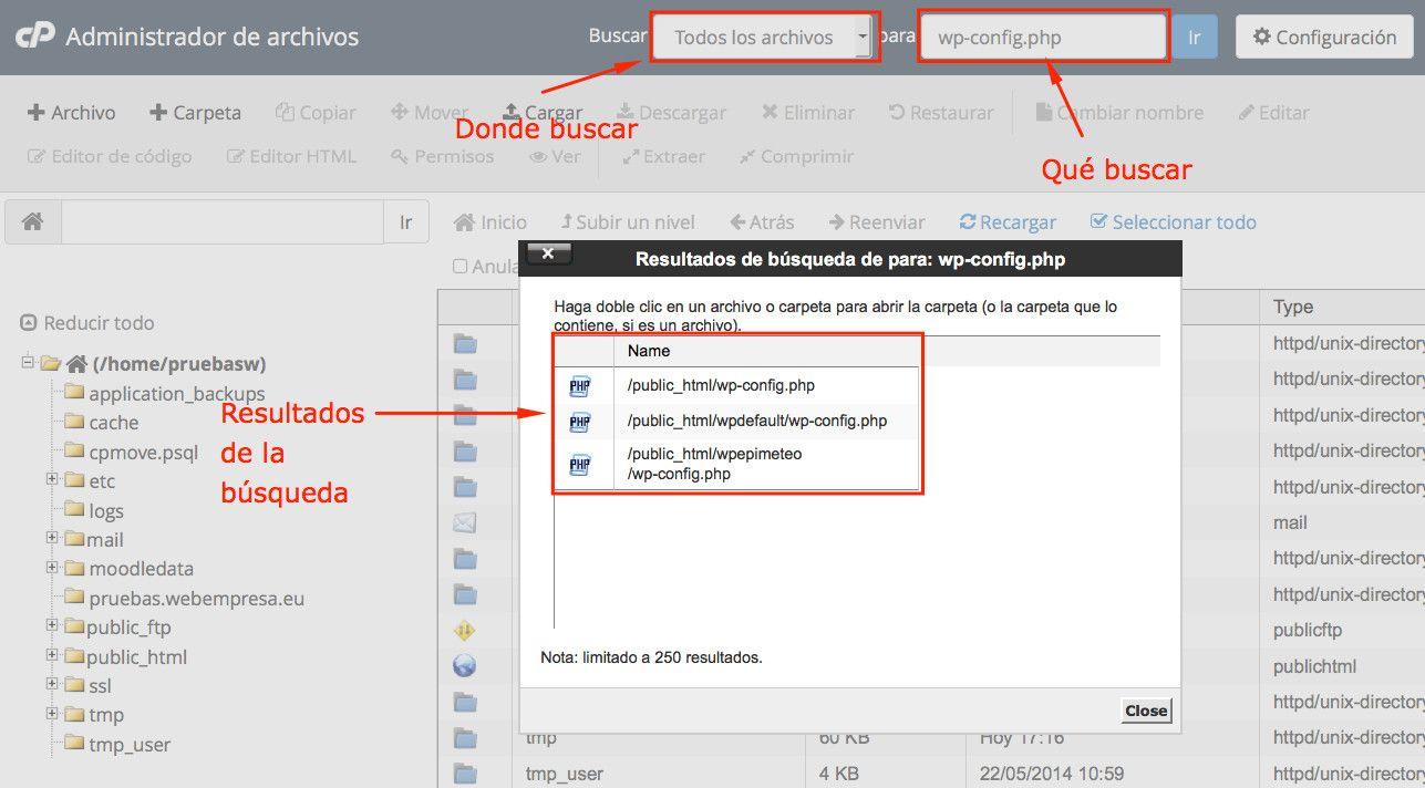 Administrador de Archivos de cPanel ¿cómo buscar archivos?