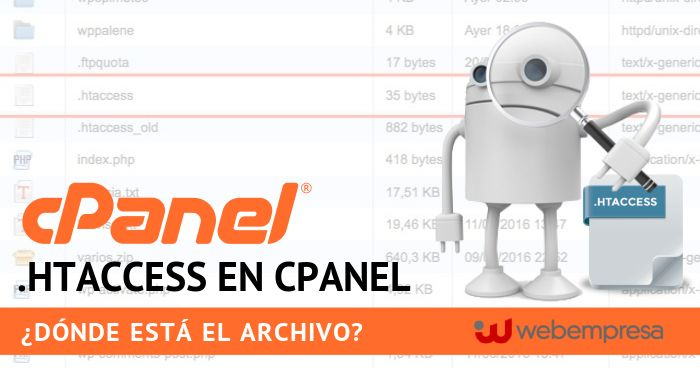.htaccess en cPanel