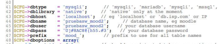 Datos base de datos en Moodle