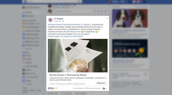 Campaña de Facebook ads - LCI Bogota