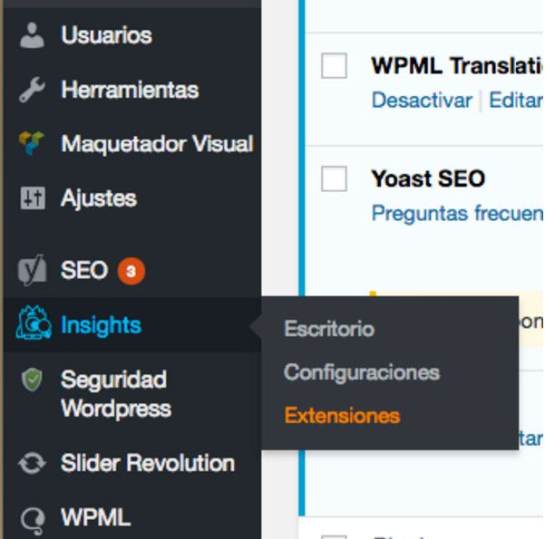 Extensiones dashboard