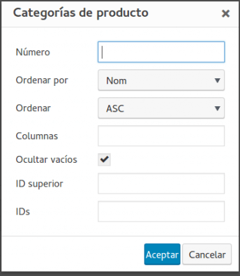 Plugin WooCommerce Shortcodes opciones