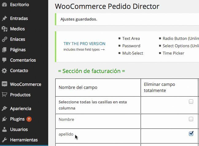 Campos WooCommerce