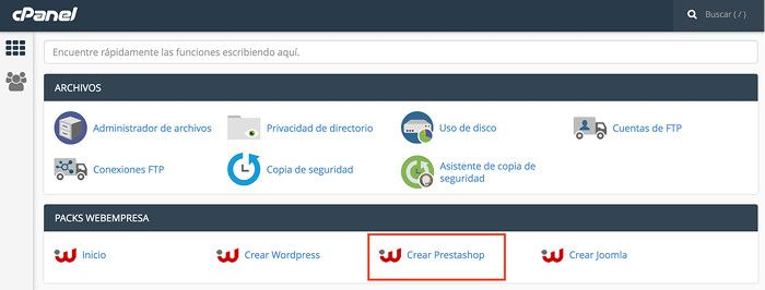 Packs Webempresa - Crear PrestaShop