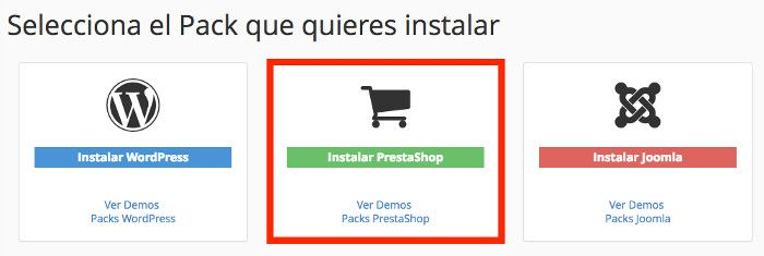 Instaladores de Packs PrestaShop en el Panel de Hosting