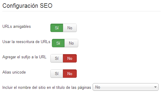 Configuración SEO en Joomla 3
