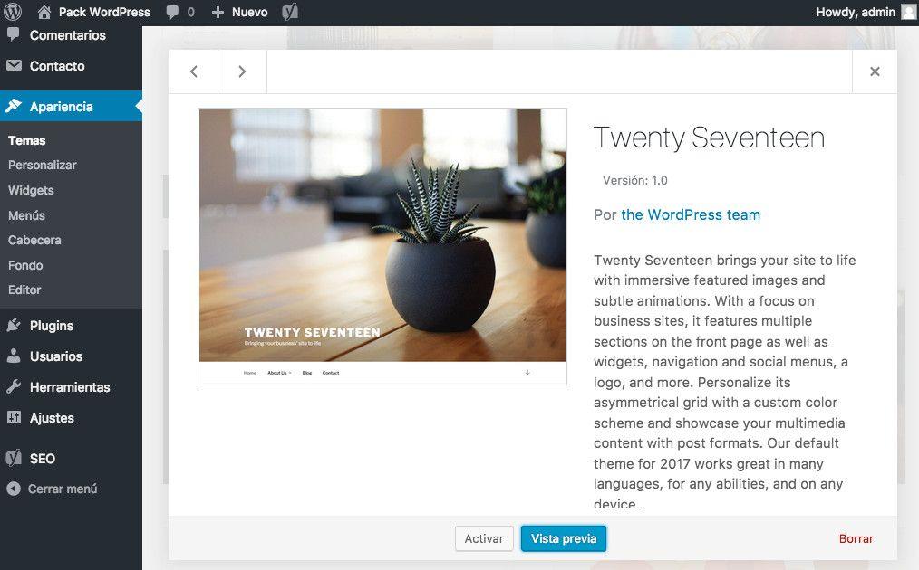WordPress 4.7 ¡bienvenido Twenty Seventeen!