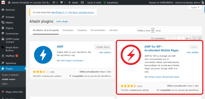 Instalación de AMP for WP en WordPress