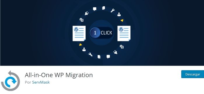 All in One Migration para exportar WordPress