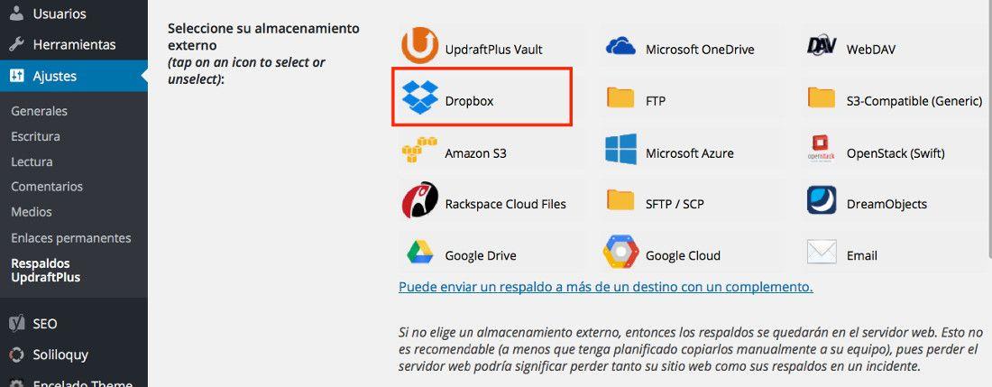 Copias de Seguridad de WordPress en DropBox con UpdraftPlus