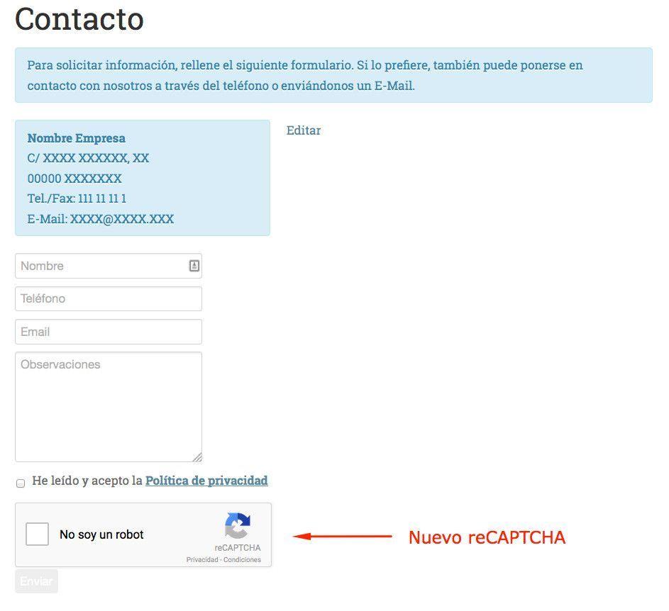 Contact Form 7 en WordPress ahora con No CAPTCHA reCAPTCHA
