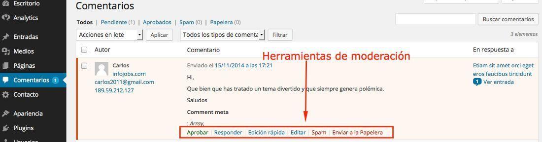 La gestión de Comentarios en WordPress