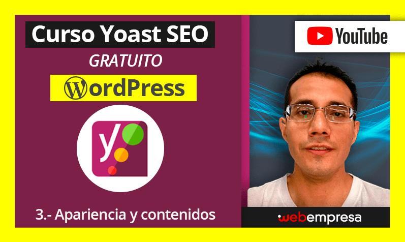 Curso Yoast Seo para WordPres - Apariencia y contenidos