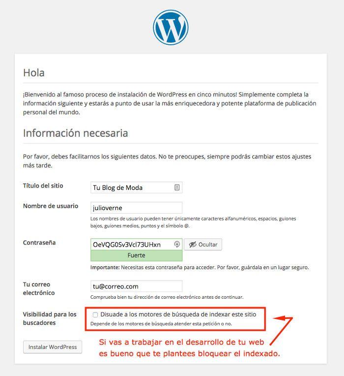 Datos del sitio y del administrador