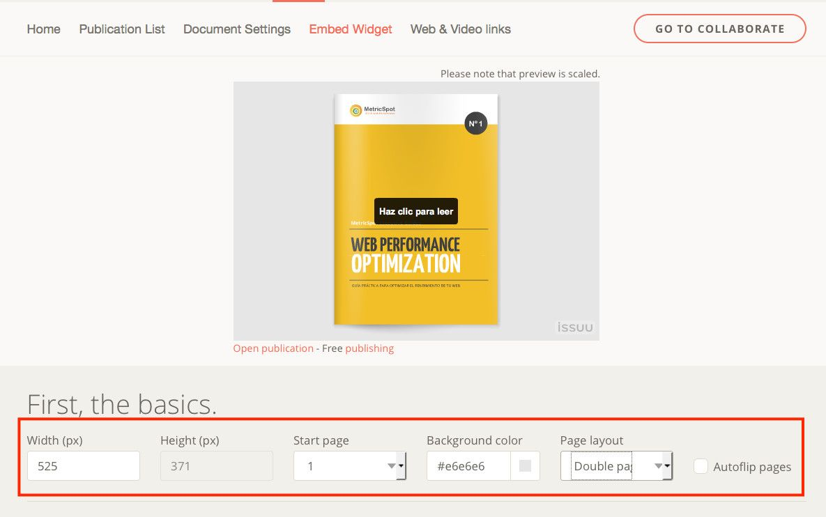 Archivos PDF en WordPress procedentes de issuu
