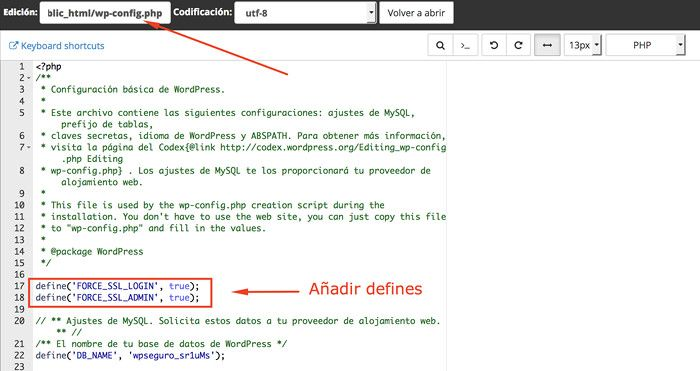 defines wp-config.php