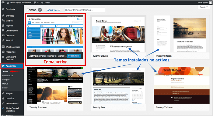 Eliminar temas desde el dashboard de WordPress