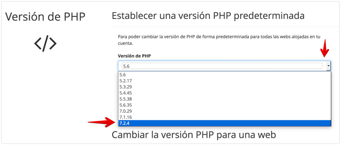 Cambiar a PHP 7.2