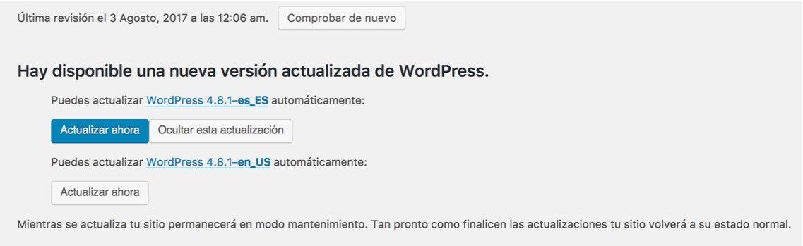 WordPress 4.8.1 ¡disponible!