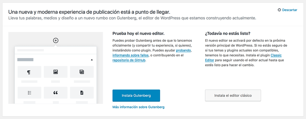 WordPress 4.9.8 ¡prueba el Editor Gutenberg!