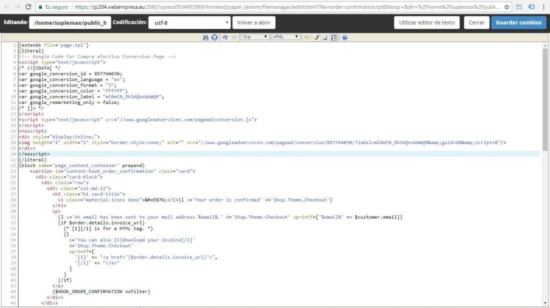 Ingresar codigo de conversion de google adwords