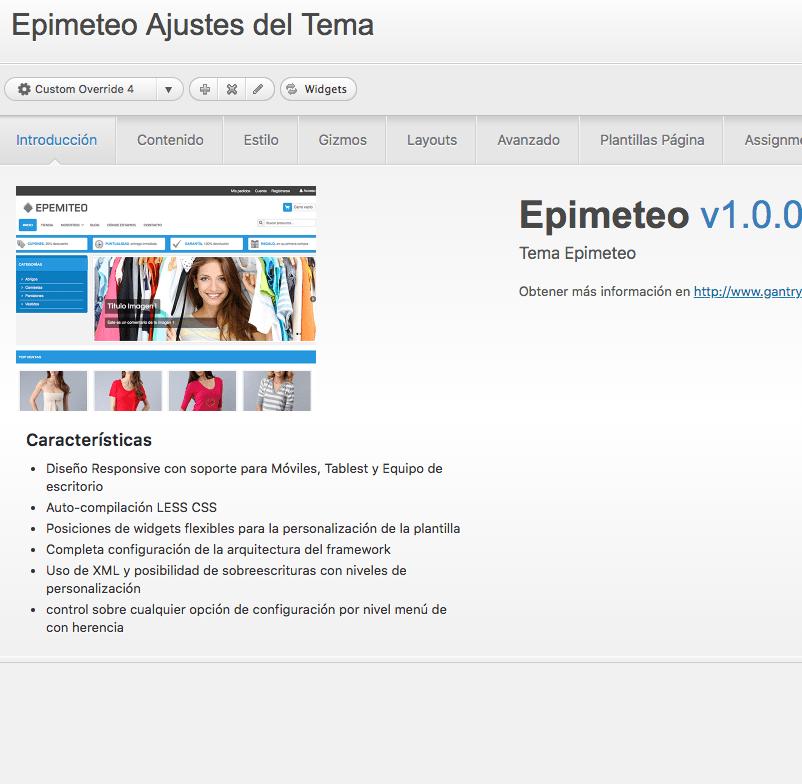 fallos Epimeteo Theme en Wordpress