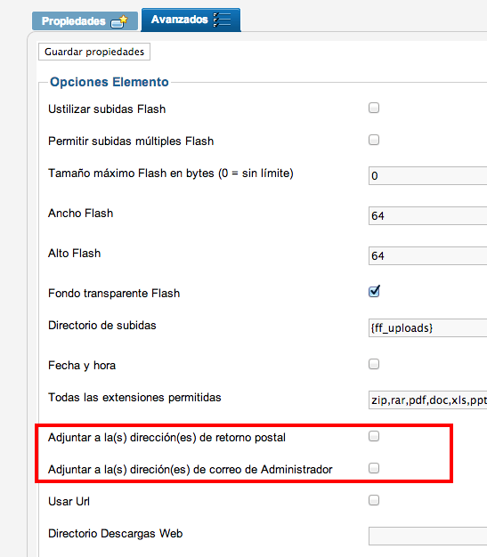 Documento adjunto por el formulario no viene en el e-mail