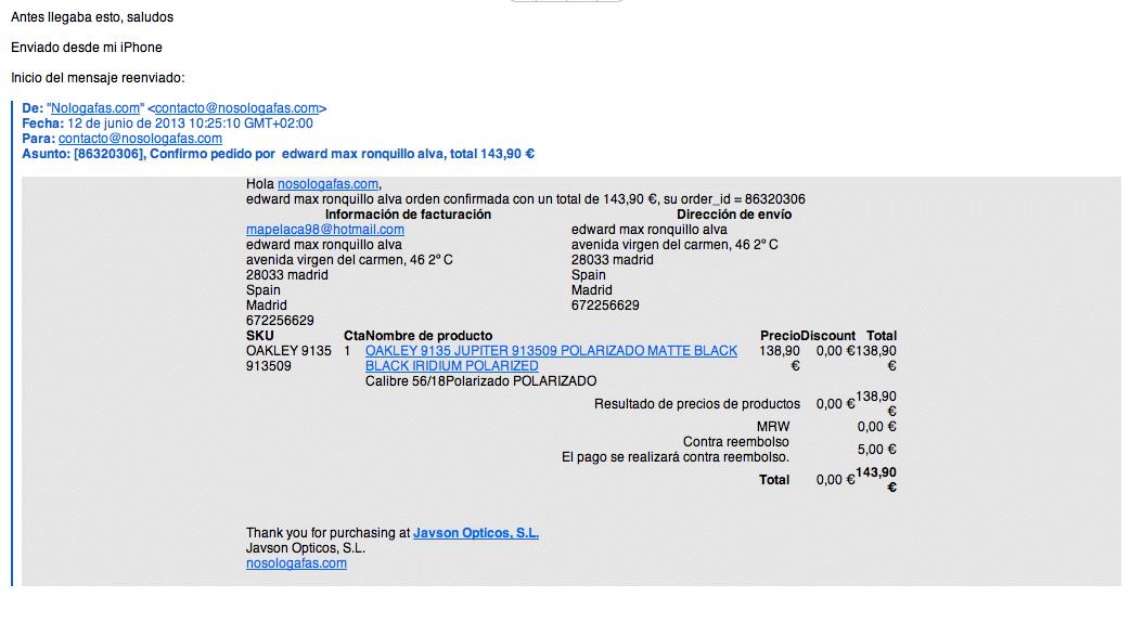 Personalizar correo confirmación pedidos