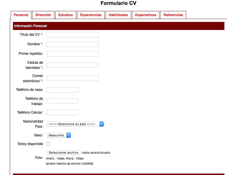 Ayuda con JS JOBS y el llenado de CV dentro de la web