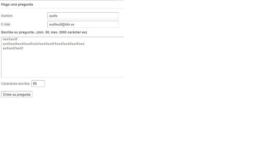 Error al envia correo al solicitar información si el precio está vacío