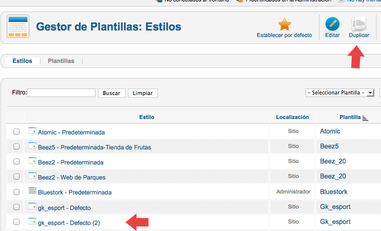 Cuál es el módulo que contiene el menú principal en la plantilla eSport?