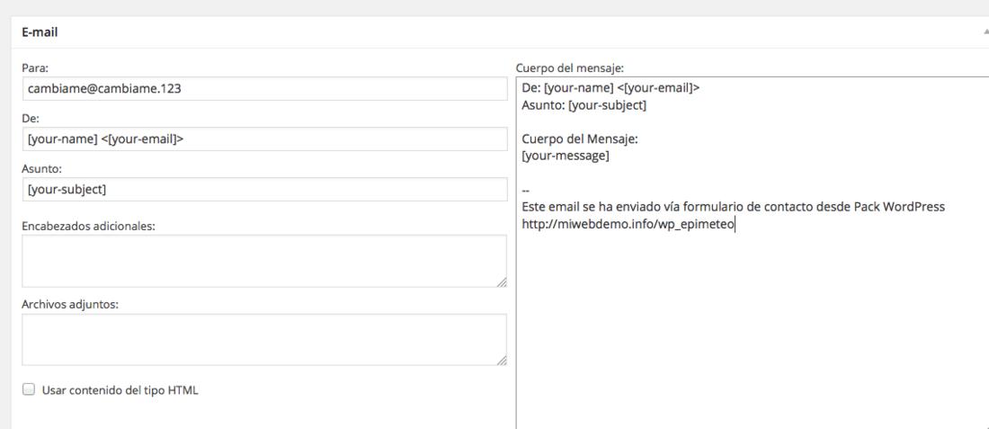 No recibo correos desde el formulario de Contacto en web Wordpress ...